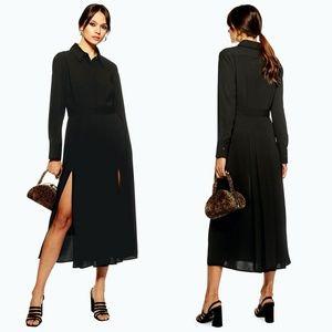 TOPSHOP Black Collar Pleated Midi Shirt Dress US 2